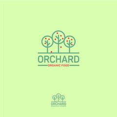 Orchard icon. Organic food logo. Fresh fruit emblem. Three fruit trees on a light background.