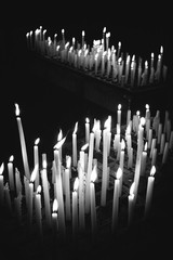 Burning candles in a catholic church
