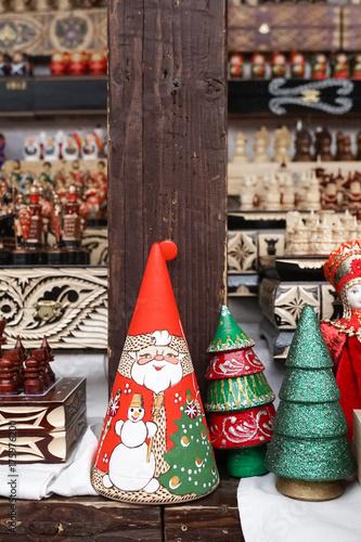 santa nesting doll russian nesting doll of matryoshka in christmas concept with santa claus and