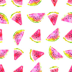 Summer  theme. Watercolor watermelon seamless pattern. Hand drawn.