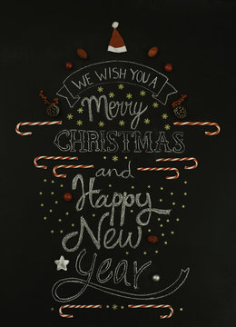 Christmas card on a chalkboard