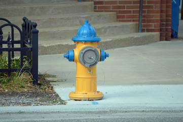 A colorful painted fire hydrant decorating the sidewalk of a small town