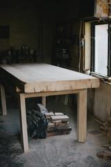 Wooden table at Carpenter's workshop