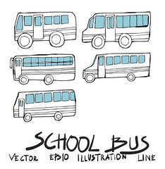 Set of bus doodle illustration Hand drawn Sketch line vector eps10