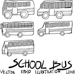 Set of bus doodle illustration Hand drawn Sketch line vector eps10