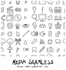 Media Doodle line background seamless pattern icon vector set eps10