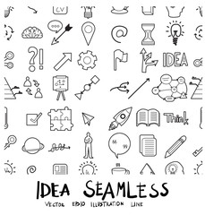 Idea Doodle background seamless pattern line icon vector set eps10