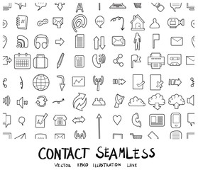 Contact Doodle background seamless pattern icon line vector set eps10