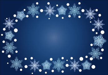 Christmas, winter oval frame of snowflakes on a blue background