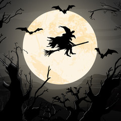 Halloween witch in front of full moon