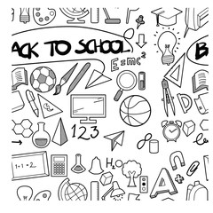 back to school doodle  seamless backround pattern  sketch vector ink eps10