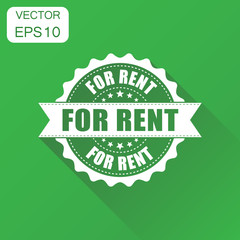 For rent rubber stamp icon. Business concept for rent stamp pictogram. Vector illustration on green background with long shadow.