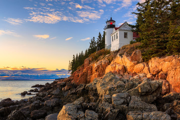Autocollant pour porte Etats-Unis Sunset over Bass Head Light in Acadia National Park, Maine