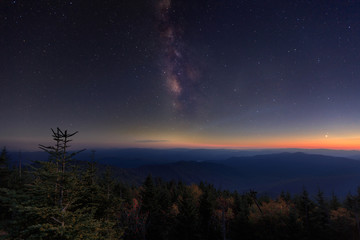 The Milky Way rises over Clingman's Dome in Great Smoky Mountains National Park