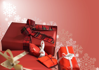 Christmas Background with Red Gifts - Colored Illustration, Vector