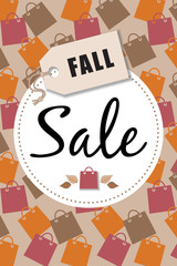 Fall Sale Shopping Bag Vector Background 1