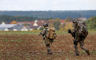 Soldiers are pictured during exercise of US Army's Global Swift Response 17 Media Day near Hohenfels