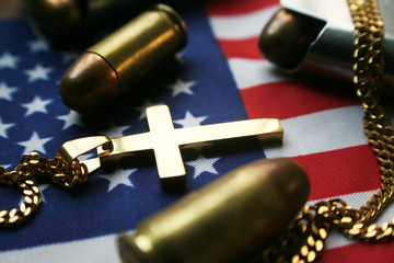 ( Freedom ) With Bullets, Religious Cross & American Flag