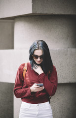 happy young woman with cell-phone