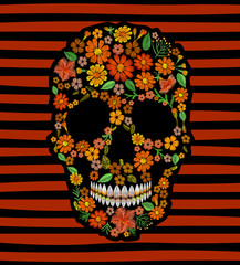 Embroidery skull face orange flower texture mexican patch. Textile print embroidered stitch. Dia de los Muertos Day of the Dead or Halloween card vector illustration on striped background.
