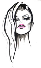 Woman portrait. Hand painted watercolor and ink. Fashion illustration background.