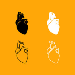 Human heart set black and white icon .