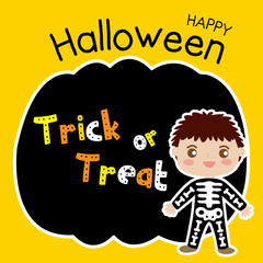Cute Halloween in Trick or Treat design concept with boy in skeleton costume on pumpkin silhouette background for poster, banner, party invitation, greeting card. Vector Illustration.