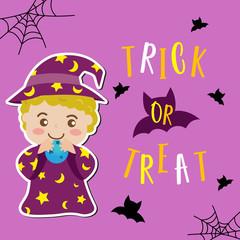 Cute Halloween in Trick or Treat design concept with wizard in purple costume spelling on blue magic ball on violet background for poster, banner, party invitation, greeting card. Vector Illustration.