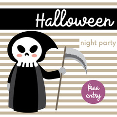 Cute Halloween night party free entry design concept with Grim Reaper holding sickle on stripe background for poster, banner, party invitation, greeting card. Vector Illustration.