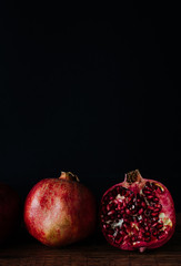 Pomegranate Against Dark Background