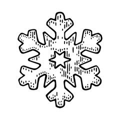Snowflake. Vector vintage black engraving illustration.