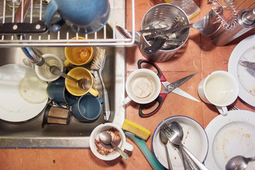 Mess of dirty dishes