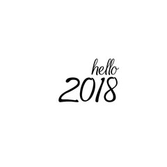 Hello 2018 hand lettering inscription
