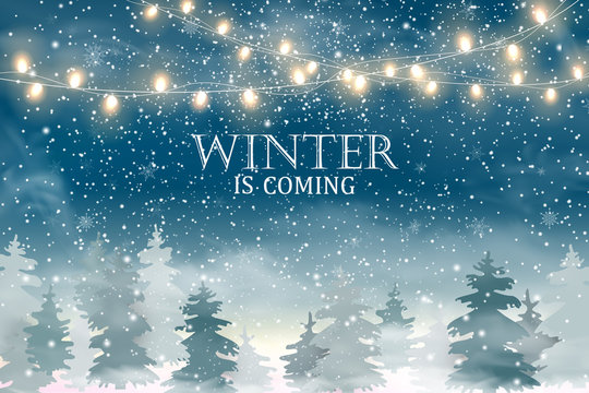 Winter is coming. Christmas landscape with Falling Christmas snow, coniferous forest, light garlands. Holiday winter landscape. Snowfall background. Vector illustration