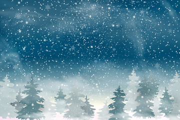 Christmas landscape with Falling Christmas snow, coniferous forest. Holiday winter landscape for Merry Christmas and Happy New Year. Winter background. Snowfall background. Vector illustration