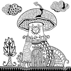 Mushroom house, staircase, tree and cloud. Doodle and zentangle style. Hand drawn coloring book. Vector illustration.