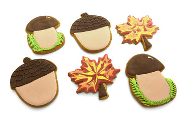 set of gingerbread in the form of a mushroom, leaf, nut on white