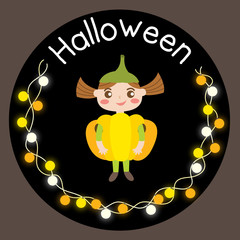 Cute Halloween design concept with girl in pumpkin costume and yellow, orange, white light bulb for poster, banner, party invitation, greeting card. Vector Illustration.