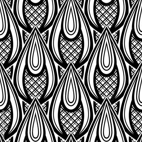 Black And White Seamless Pattern With Ethnic Motifs Endless Texture