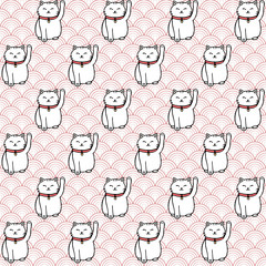 Vector hand drawn seamless pattern with white japanese maneki neko lucky cats. Cute asian background with circles.