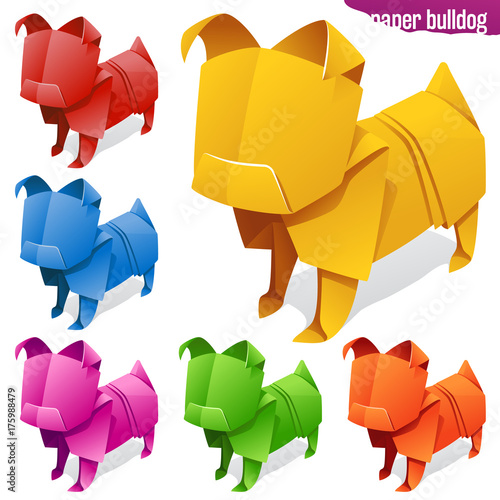 Vector Origami Paper Dogs Yellow Red Orage Blue Green And Pink
