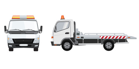 White tow truck with front and side view. Flat vector with solid color design.