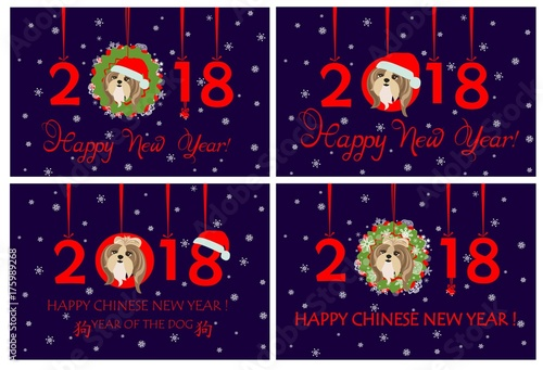 Happy New Year 2018 Greeting Banners With Hanging Xmas Wreath, Paper  Numbers And Funny Puppy