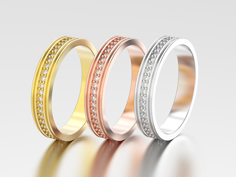 3D illustration three yellow, rose and white gold engagement wedding band diamonds rings with reflection and shadow