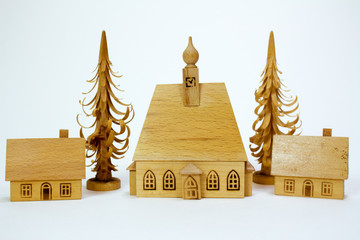 Vintage carved wooden church and house for small Christmas Village