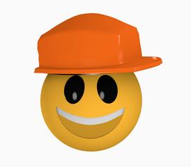 Lachendes Emoticon mit Schutzhelm