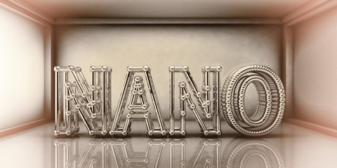 Nano word built from crystalline network, nanotechnology concept, 3D illustration. Retro style toning