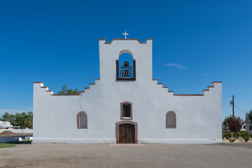 Exterior and entrance of the Socorro Mission in El Paso, Texas