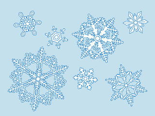set of the blue snowflakes