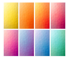Set Of 8 Low Poly Backgrounds For Mobile Or Web Design. Polygonal Geometric  Texture.